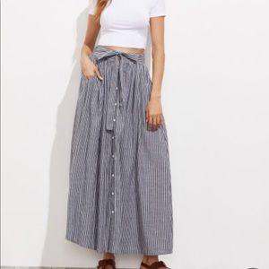 Self Tie Hidden Pocket Detail Button Up Skirt